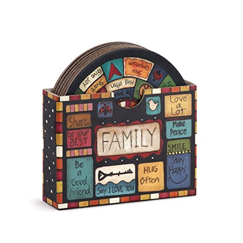 Family Values Multicolored 4 x 4 Cork and Paperboard Coasters Set of 7