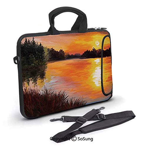 10 inch Laptop Case,Lake Forest at Sunset Abstract Art Impressionism Style Neoprene Laptop Shoulder Bag Sleeve Case with Handle and Carrying & External Side Pocket,for Netbook/MacBook Air Pro