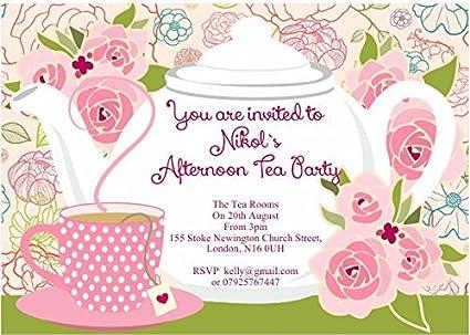 10 x personalizado invitaciones para fiesta de té de la ...