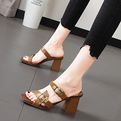 GTVERNH Damenschuhe Damenschuhe Damenschuhe Mode Pantoffeln Weiblich Sommer Am Kopf Gürtel Zehen 8Cm Hochhackigen Schuhe Erschöpft Dick Cool. 24c626