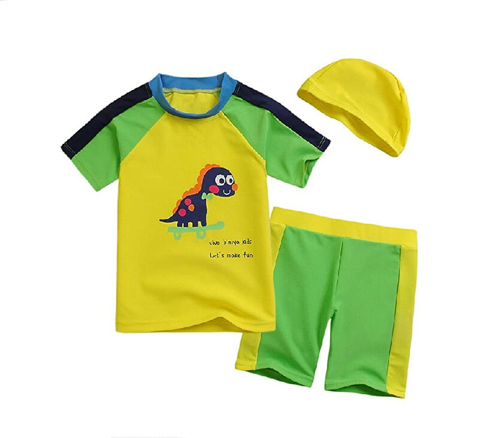 Yellow Dinosaur Boys Swimsuit Short Sleeve Beach Wear, 5-6 Yrs PANDA SUPERSTORE PS-SPO2420245011-EMILY00855