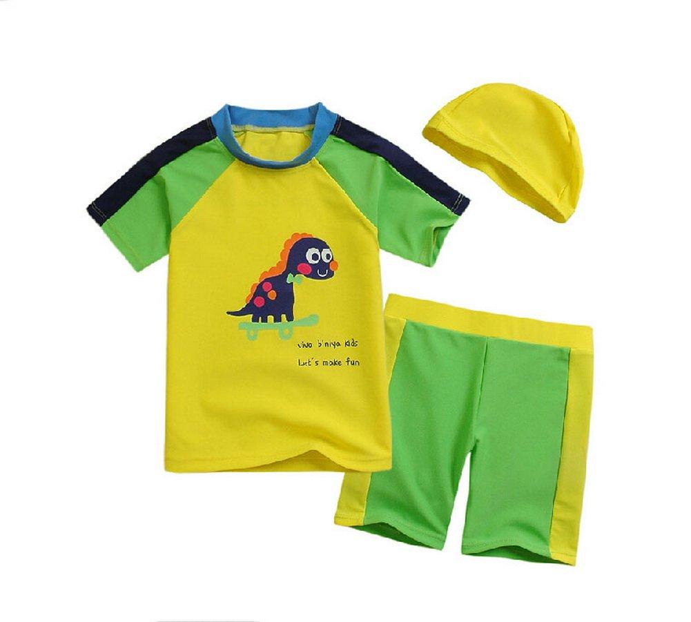 Yellow Dinosaur Boys Swimsuit Short Sleeve Beach Wear, 5-6 Yrs