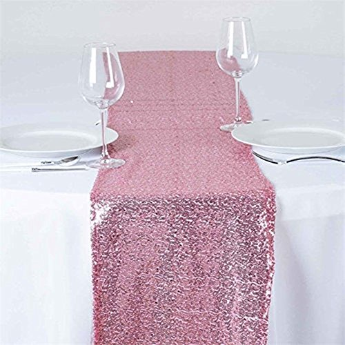 TRLYC 6 Pieces 12 by 108-Inch Wedding Rose Pink Sequin Table Runner, Rose Pink - Pink Rose Table