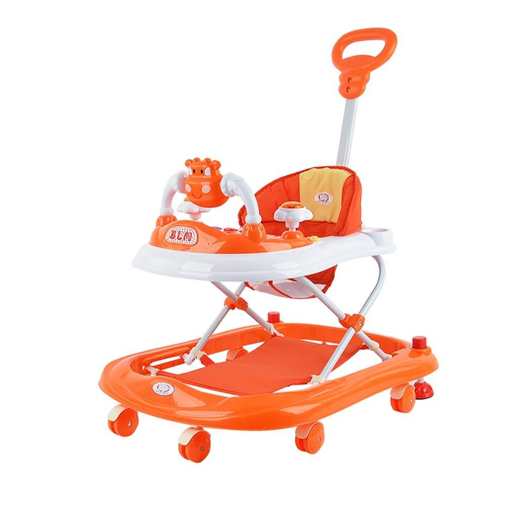 折り畳み可能なベビーウォーカー6 / 7-12ヶ月子供の多機能アンチロールオーバーベビーカー音楽学習車のトロリー (色 : Orange)  Orange B07KRVP3M6