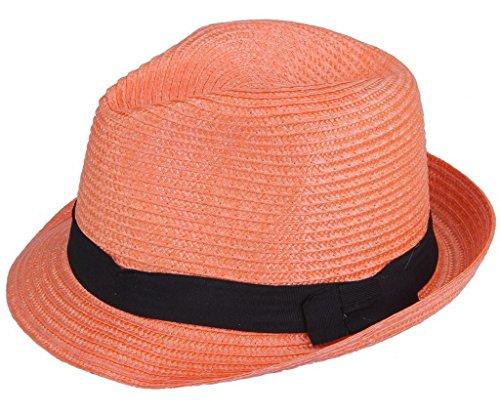 (ビグッド)Bigood 紳士ハット 麦わら帽子 ストローハット 中折れハット ポークパイ帽子 PP リボン飾り メンズ レディース兼用 日よけ オレンジ