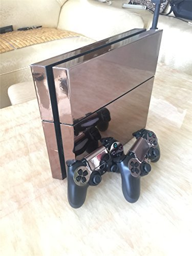 Electroplating-Decal-Sticker-Skin-for-Playstation-4-Ps4-Console-Skin-X-1-Controller-Skin-X-2-Rose-gold