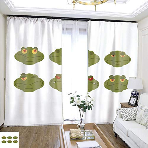 Air Port Screen Frog Emoji Set Toad Avatar Good and Evil Amphibious Sleeps and winks Joy and Sadness face Reptile W96 x L216 Living Room noisefree Ring top Curtain Highprecision Curtains for bedroo