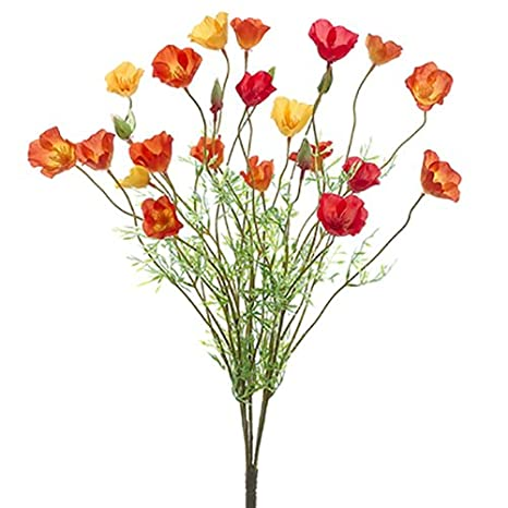 Amazon 22 Silk Poppy Flower Bush Orangeyellow Pack Of 12