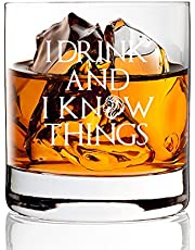AGMdesign, Funny I Drink And I Know Things Whiskey Glasses, Game of Thrones Gifts, Funny Novelty Gift, Present for Dad, Men, Friends, Him