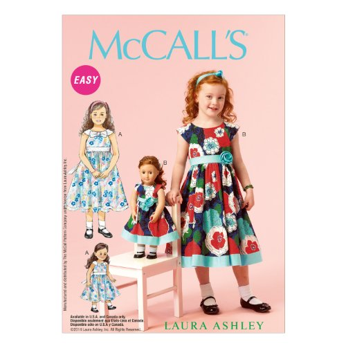 McCall Pattern Company M6875 Children's/Girls'/18-Inch Dolls' Dresses Sewing Template, Size CDD (2-3-4-5)