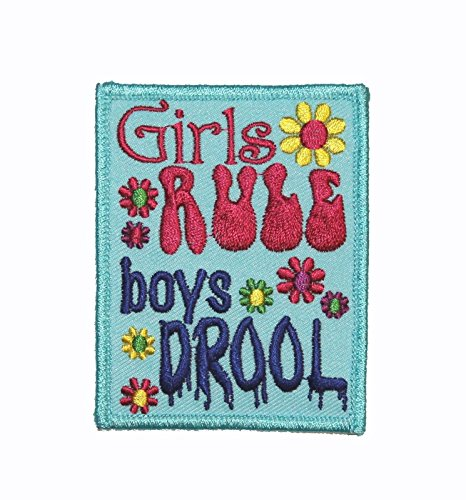 Girls Rule Boys Drool Iron On Embroidered Applique Patch - Mail Express Tracking Priority
