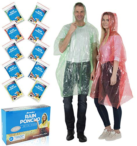 Wealers Poncho One Size Fit All with Hood 10 pieces in display box, 5 different colors 2 Red 2 Blue 2 White 2 Yellow 2 Green. Perfect to Keep in Emergency Kit, Backpack, Home, Office, Car, Pocket, In Case A Rainy Day. -