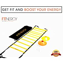 Speed and Agility Workout Ladder Training Equipment Set by F1TNERGY - Yellow 12 Rung Adjustable with Carrying Bag + 10 Speed Cones (5 Orange + 5 Yellow) + 4 Pegs & D-Rings - Soccer Training Football Gear Hockey Mask track field kids hurdles sports baseball outdoor fitness exercise trampoline 56 beachbody goal rope Drills Rungs Chute Skills obstacle course strength athletic