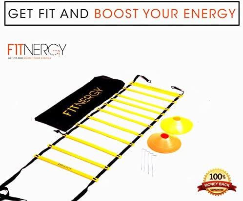 F1TNERGY Speed and Agility Ladder Training Equipment Yellow 12 Rung Ladder Free Carrying Bag 10 Speed Cones 5 Orange 5 Yellow 4 Pegs D-Rings Soccer Football
