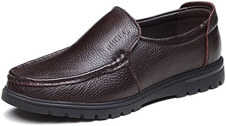 Ruiyue Zapatos Mocasines para Hombres, Cuero Genuino de Cuero de Vaca Superior sin Cordones con Suela Plana para Caballeros (perforación Opcional) (Color ...