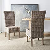 wicker dining room chairs Safavieh FOX6521A-SET2 Home Collection Quaker Dining Chair, Set of 2, Natural