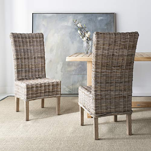 Safavieh FOX6521A-SET2 Home Collection Quaker Dining Chair, Set of 2, Natural (Mango Sets Furniture Dining)