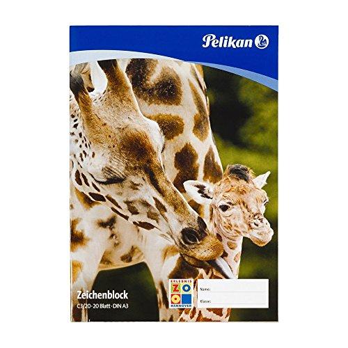 Pelikan 224840 - Zeichenblock DIN A3 20 Blatt 100gr, 1 Stück, mehrfach sortiert