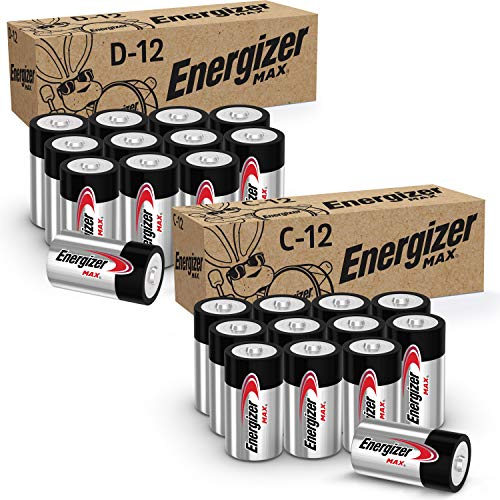 Energizer MAX C Batteries and D Batteries Combo Pack, 12 C and 12 D Batteries (24 Count)