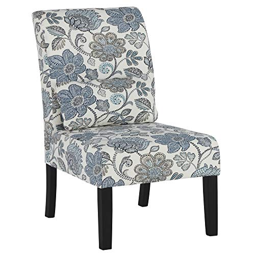 - Ashley Furniture Signature Design - Sesto Accent Chair w/ Pillow - Contemporary - Floral Pattern in Shades of Blue/Cream - Black Finish Legs