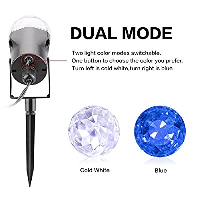 YKSH Kaleidoscope Spotlight 2 in 1 Color Changing Rotating Led Light Outdoor Christmas Halloween Light Show Projection Crystal Ball Waterproof for Garden, Pool, Path, Trees, Landscape