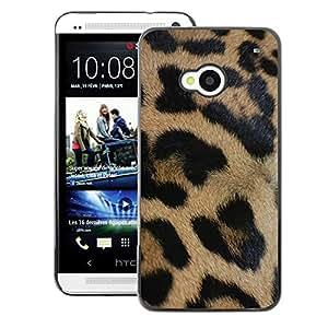 A-type Arte & diseño plástico duro Fundas Cover Cubre Hard Case Cover para HTC One M7 (Leopard Golden Brown Fur Pattern Black)