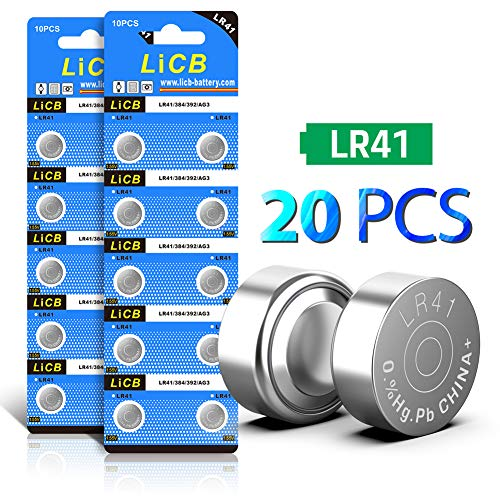 LiCB 20 Pack LR41 AG3 392 384 192 Battery 1.5V Button Coin Cell Batteries 1.5v Dc Silver Battery