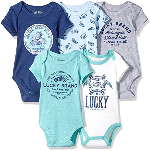 Lucky Brand Baby Boys' 5 Pack Bodysuits, Vanilla/Blue/Green/Grey/Navy, 6-9 Months
