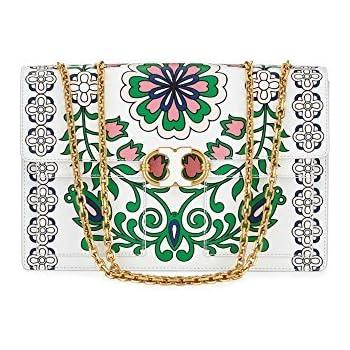 3420984953e Tory Burch Gemini Link Large Garden-Print Chain Crossbody Bag Shoulder  Handbag