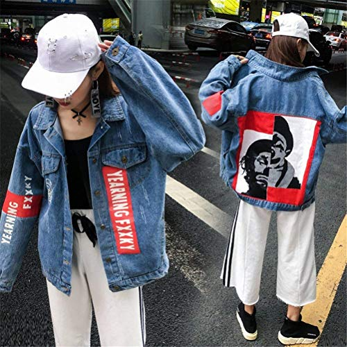 Denim Giacche Blau Donna Lunghe Digitale Casuale Autunno Outerwear Chic Lounayy Streetwear Primaverile Bavero Elegante Giubbino Jeans Giacca Maniche Pattern qZgRExCwH