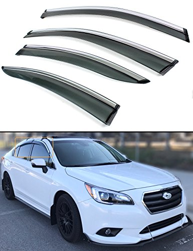 - Fits for 2015-2018 Subaru Legacy Sedan Clip-on Smoke Tinted Window Visor Rain Guard W/Chrome Trim
