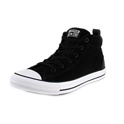 Converse Unisex Chuck Taylor All Star Street Suede Mid Top Black/Black White Sneaker - 11.5 Men - 13.5 Women | Fashion Sneakers