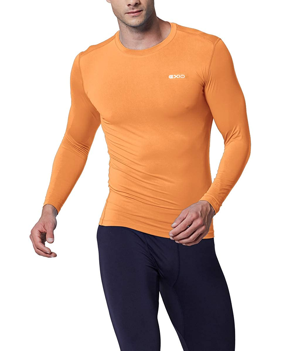 EXIO Mens Compression Baselayer Top Cool Dry Long /& Short Sleeve Workout Shirt