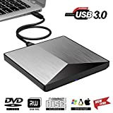 Snorain External CD/DVD Drive,USB 3.0 DVD +/-RW Superdrive CD Burner with High Speed Data Transfer Compatible for MacBook Laptop Desktop PC Windows10 /8/7 /XP Linux Mac OS (Silver)