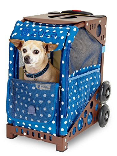 ZUCA Rolling Pet Carrier - Best in Show Bag with Black Sport Frame and Flashing Wheels -