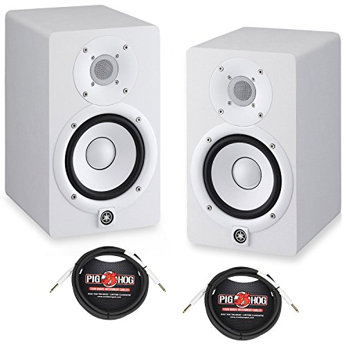 Yamaha HS5 5'' Powered Studio Monitors Pair White w/ Pig Hog 1/4'' - 1/4'' Cables 10ft - Bundle by Yamaha