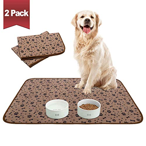 """Waterproof Dog Food Mat Non-Slip - 2 Pack Dog Bowl Mat Absorbent Pet Feeding Mats Washable Pee Pads for Puppies Cats, Bone & Paw Pattern 35.4"""" X 23.6"""""""