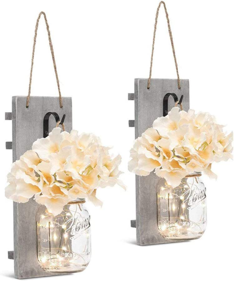 Decorative Mason Jar Wall Decor - Rustic Wall Sconces with 6-Hour Timer Led Fairy Lights and Flowers - Farmhouse Home Decor (Set of 2)