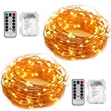 EShing 2 Set Battery Operated Starry String Lights, 33ft 100 LED 8 Modes Dimmable Fairy Lights with Remote Control, Waterproof Copper Wire Lights for Seasonal Holiday Decorations(Warm White)