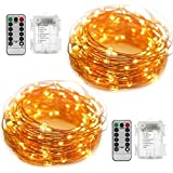 YIHONG Fairy String Lights Battery Operated Set of 2, Copper Wire String Lights Firefly Lights 16.5ft 50 LEDs | Timer | Remote Control | Christmas Indoor Outdoor Decor (Warm White)
