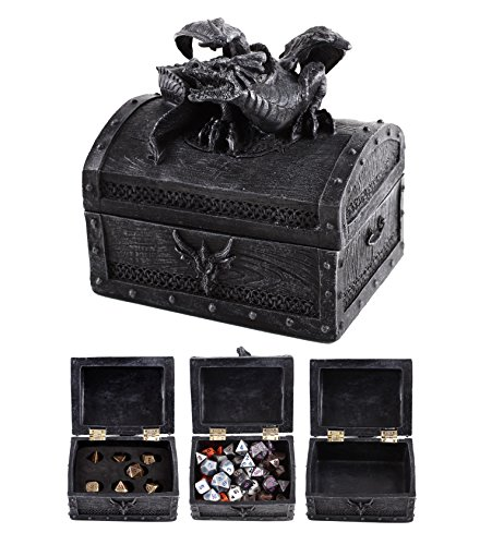 Dice Set Gift Box (Forged Dice Co. Deluxe Dragon Dice Storage Box - Container holds up to 6 sets of Polyhedral Dice or 42 Individual Dice)