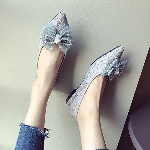 Fondo KPHY Sharp Gasas Pie Plano Zapatos Encajes Boca Hollow Solo Transpirable gray Zapato Princesa Cabeza Verano El Superficial Poner De 8684wqAr