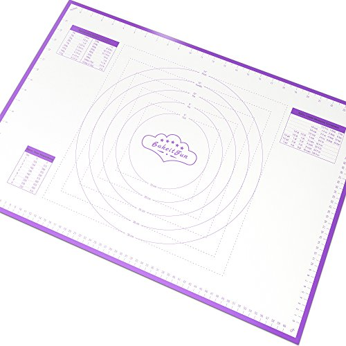 BakeitFun Large Silicone Pastry Mat With Measurements | 66 x 46 cm | FDA and LFGB Approved | Full Sticks To Countertop For Rolling Dough | Conversion Information Included | Purple