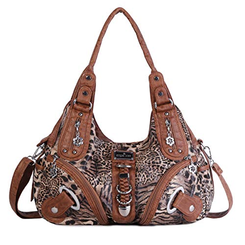 Angelkiss Women's Leopard Print Leather Hobo Shoulder Bags Satchel Purse Top-handle Handbags with Zipper Brown
