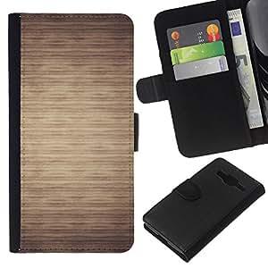 KLONGSHOP // Tirón de la caja Cartera de cuero con ranuras para tarjetas - Patrón Beige minimalista Horizontal - Samsung Galaxy Core Prime //