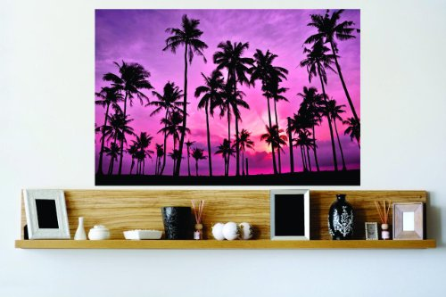 Decal – Vinyl Wall Sticker : Pink Sky Sunset Palm Trees O...