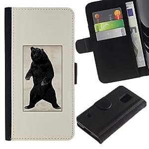 EJOY---Tirón de la caja Cartera de cuero con ranuras para tarjetas / Samsung Galaxy S5 V SM-G900 / --Negro Oso Grizzly Rugido del cartel del vintage