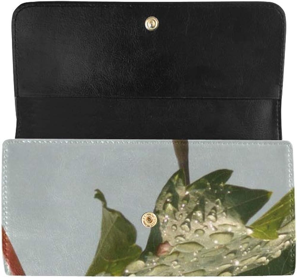 Unique Custom Wine Vine Leaf Leaves Women Trifold Wallet Long Purse Credit Card Holder Case Handbag