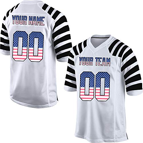 Custom Men's Striped Mesh Football Game Jersey Stitched Team Name and Your Numbers,White-American Flag Size L