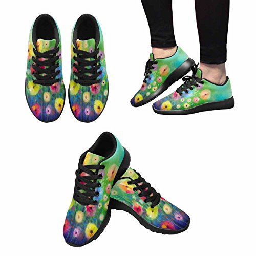 InterestPrint Womens Jogging Running Sneaker Lightweight Go Easy Walking Comfort Sports Athletic Shoes Yellow and Red Flowers On Green Color Background Multi 1 BzjtLMPZ6O